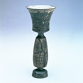 High-stemmed Black Pottery Cup