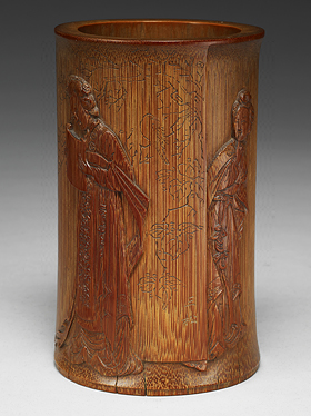 Carved Bamboo Brush Holder Illustrating
