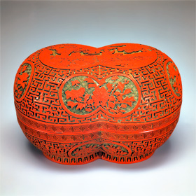 Two Round Conjoined Containers in Carved Red Lacquer