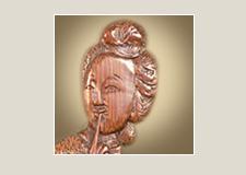 Деталь резного бамбукового стакана для кистей со сценой тайного чтения письма (Выставочная серия 04)